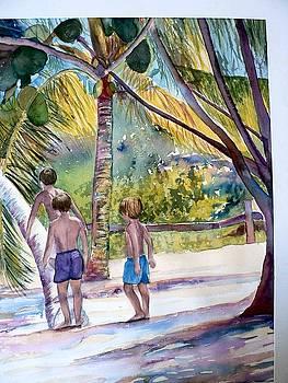 Three Boys Climbing by Lynne Atwood