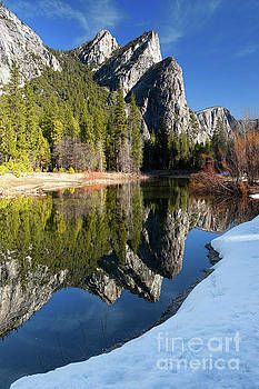 Three Brothers in Yosemite National Park in Winter by Tibor Vari