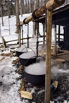 Reimar Gaertner - Three cast iron evaporator pots over open fire to produce maple