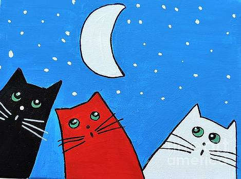 Artists With Autism Inc - Three cats and a moon