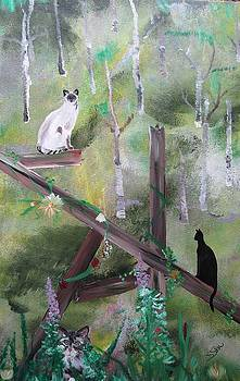 Three Cats in the Yard by Susan Snow Voidets