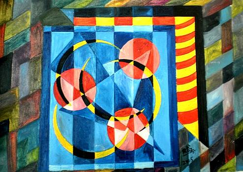 Rizwana Mundewadi - Three Circles Three Arches  Old Cubism Abstract