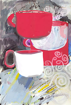 Three coffee cups red and white by Amara Dacer