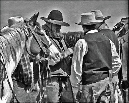 Three cowboys black and white by Susie Fisher