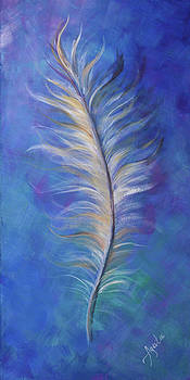 Three Feathers triptych-right panel by Agata Lindquist
