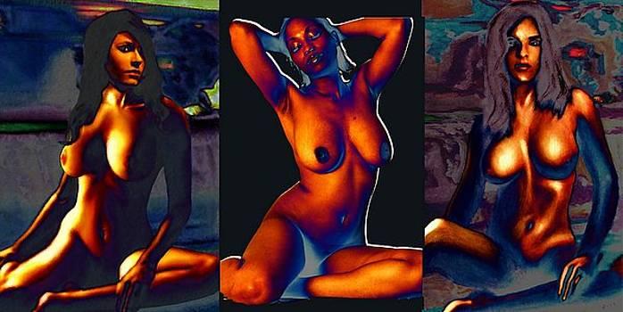G Linsenmayer - Three Female Nudes Torsos
