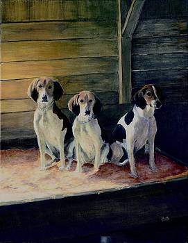 Three Foxhounds by Deborah Butts