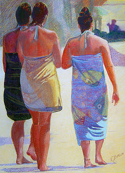 Three Girls on the Beach by Katherine  Berlin