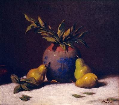 Three Golden Pears with Vase by David Olander