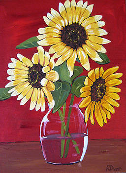 Three Happy Sunflowers by Rachelle Dyer