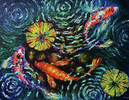 Three Koi with Lilies by Elizabeth Cox