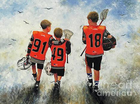 Three Lacrosse Boys by Vickie Wade