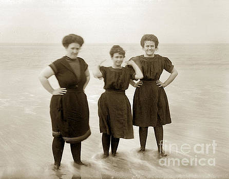 California Views Mr Pat Hathaway Archives - Three ladies Bathing in early Bathing Suit on Carmel Beach early 20th Century.