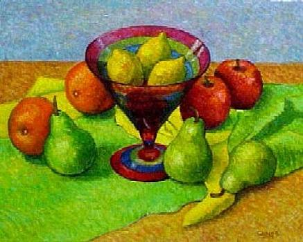 Three Lemons in a Glass Vase by Gainor Roberts