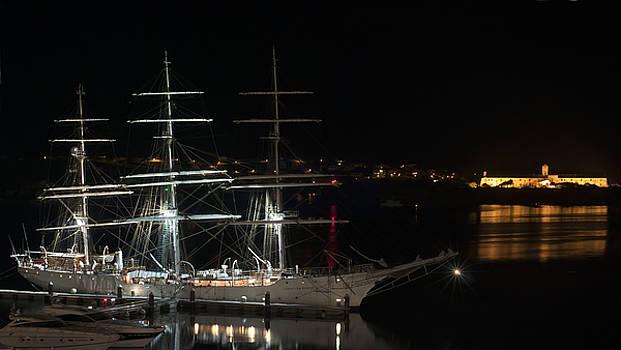Pedro Cardona Llambias - three mast beauty at port mahon by pedro cardona