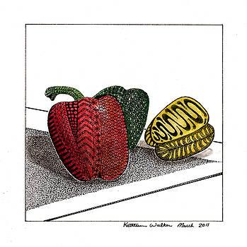 Three Peppers by Kathleen Walker
