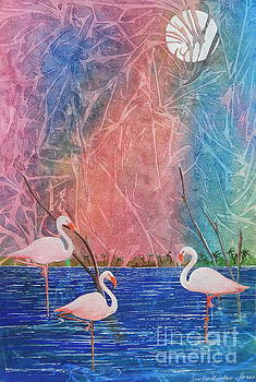 Three Pink Flamingos by Jackie Mueller-Jones