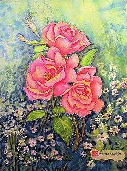 Three Pink Roses by Norma Boeckler