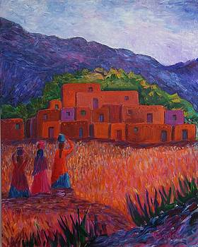 Three Pueblo Women by Carolene Of Taos