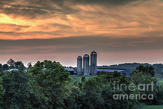 Larry Braun - Three Silos at Dusk