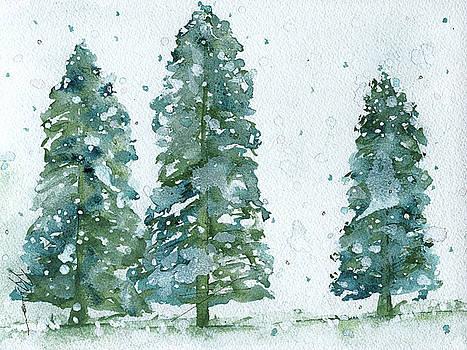 Three Snowy Spruce Trees by Dawn Derman