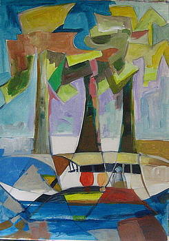 Three Trees And One Boat by Therese AbouNader