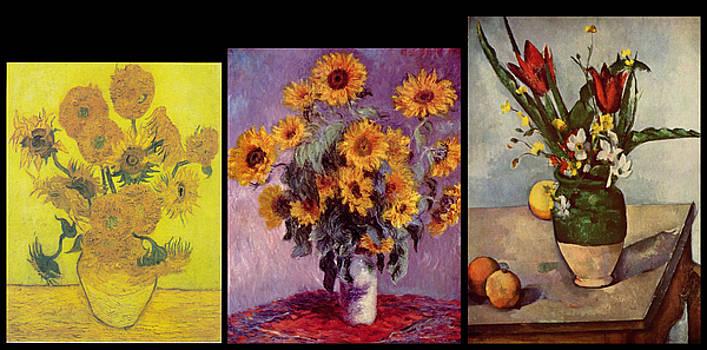 Three Vases van Gogh - Monet - Cezanne by David Bridburg