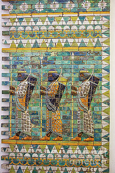 Three warriors on ancient wall from Babylon by Patricia Hofmeester