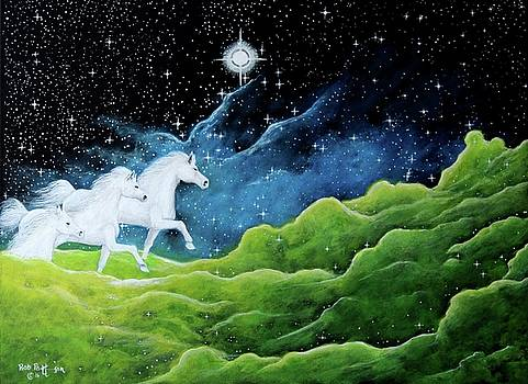 Three white horses the Spirit of the Universe by Bob Patterson