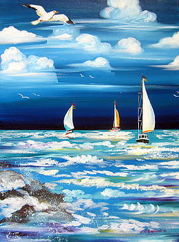 Three White Sails And A Seagull by Roberto Gagliardi