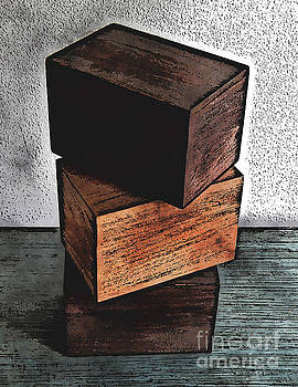Three Wooden Boxes On Dresser by Phil Perkins