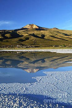 Thunupa Volcano Reflected in Salar de Uyuni Bolivia by James Brunker