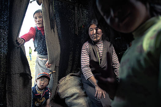 Tibetan Nomad Family by Bastian Fischer