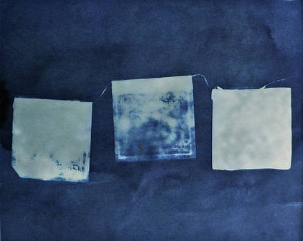 Tibetan Prayer Flags cyanotype by Lisa Shea
