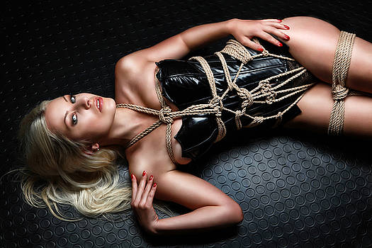 Rod Meier - Tied blonde lying on floor - Fine Art of Bondage