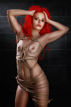 Rod Meier - Tied girl, rope harness - Fine Art of Bondage