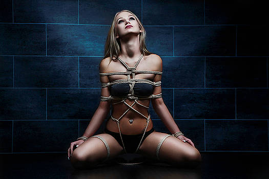 Rod Meier - Tied in rope harness - Fine Art of Bondag