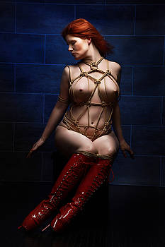 Rod Meier - Tied, red ballet heels - Truth Burlington - Fine Art of Bondage