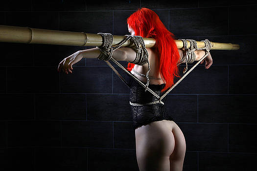 Rod Meier - Tied to bamboo tube - Fine Art of Bondage