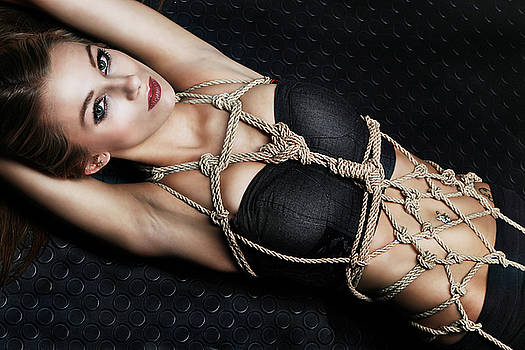 Rod Meier - Tied up girl, Rope Portrait - Fine Art of Bondage