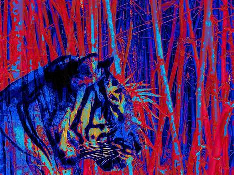 Tiger Art Blue Red Variant Bamboo by David Mckinney
