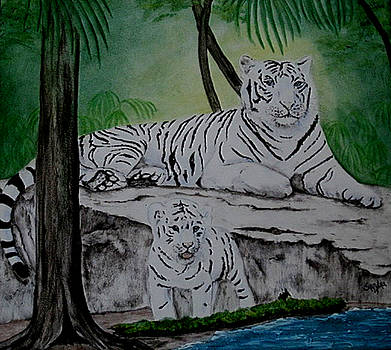 Tiger Family in the Jungle by Sandra Maddox