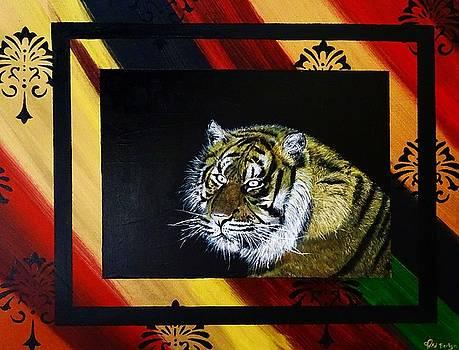 Tiger - Mixed Media Art by Ed Berlyn