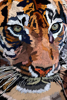 Tiger Portrait Painting by Andres Ramos