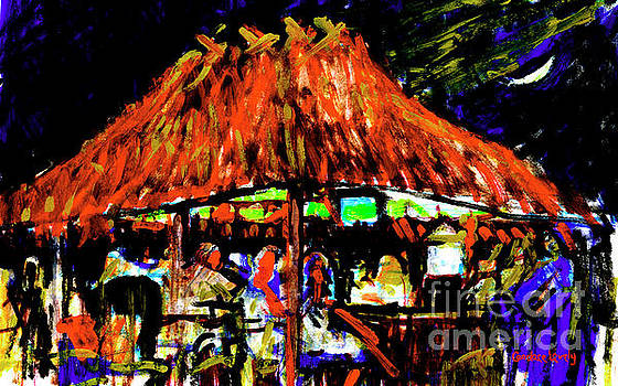 Tiki Hut with Moon by Candace Lovely
