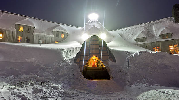 Timberline Lodge Entry Mt Hood Snowdrifts by Dustin K Ryan