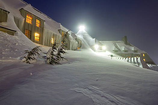 Timberline Lodge Mt Hood Snow Drifts at night by Dustin K Ryan