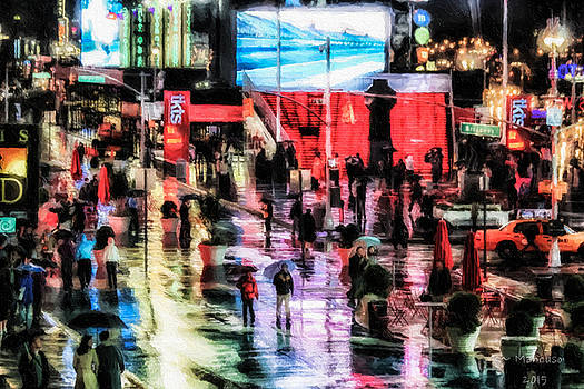 Time Square In The Rain by Russell Mancuso
