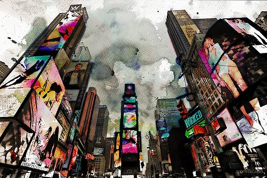 Time Square Mixed Media by Scott Fracasso