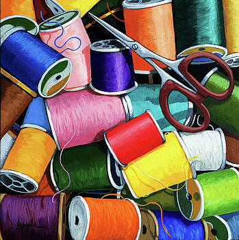 Time to Sew - colorful threads by Linda Apple